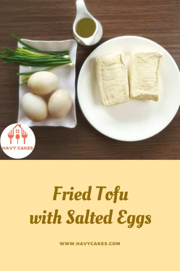 Fried tofu with salted eggs howto: Ingredients