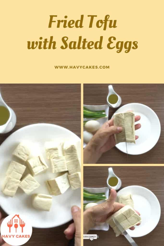 Fried tofu with salted eggs howto: Step1