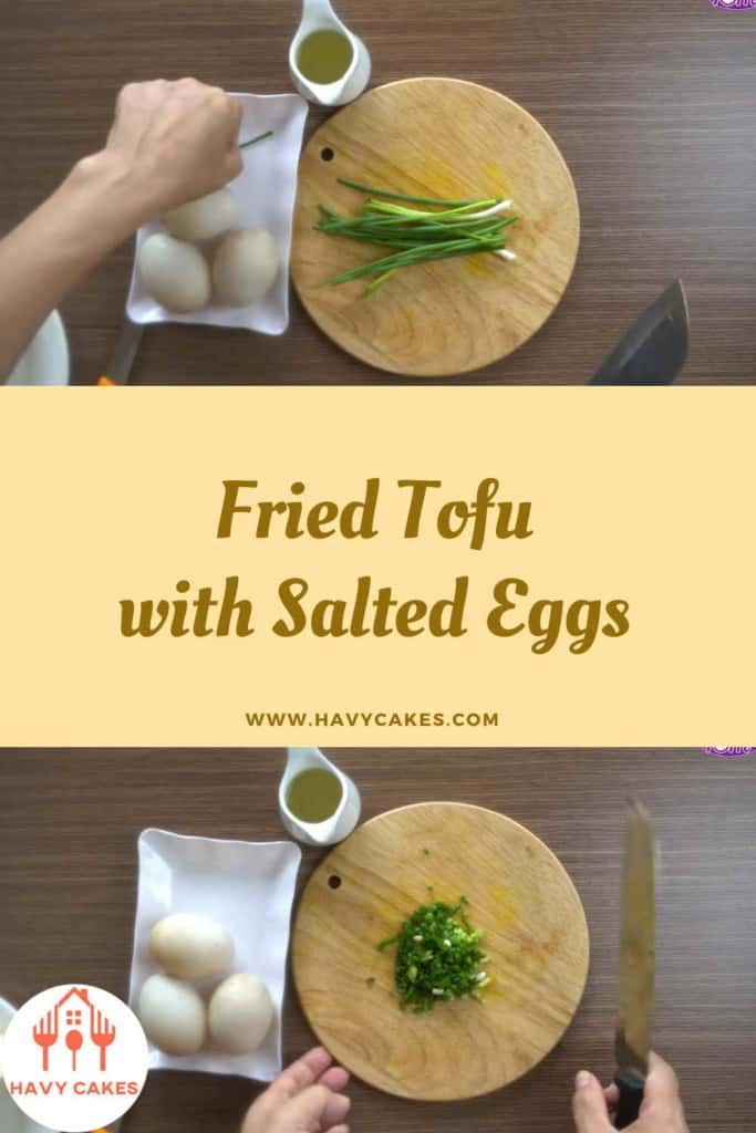 Fried tofu with salted eggs howto: Step2