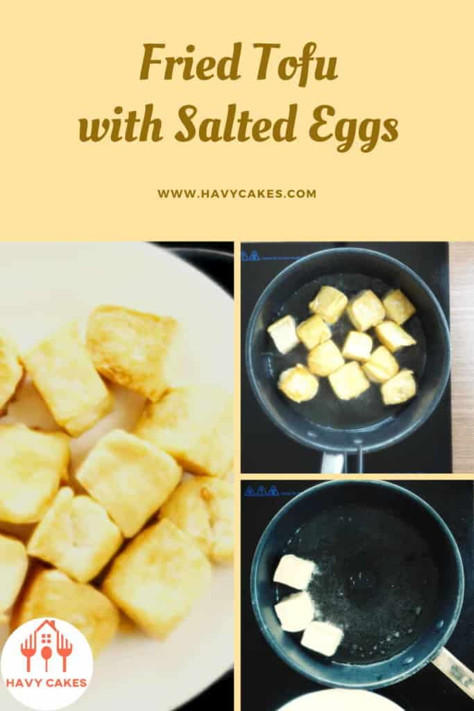 Fried tofu with salted eggs howto: Step4