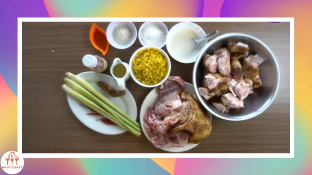 ingredients to cook a dish from pork shank