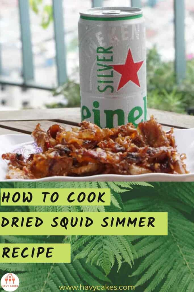 Enjoy dried squid simmer with beer