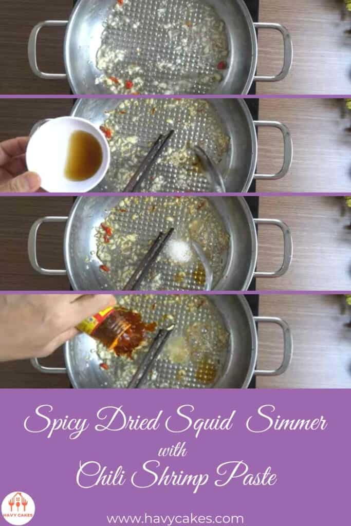 Step 2 of dried squid simmer recipe