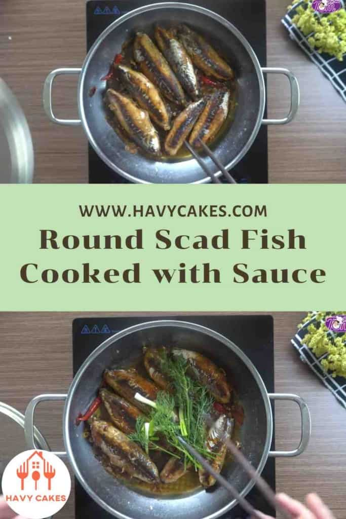 Round scad fish cooked with sauce howto: Step4