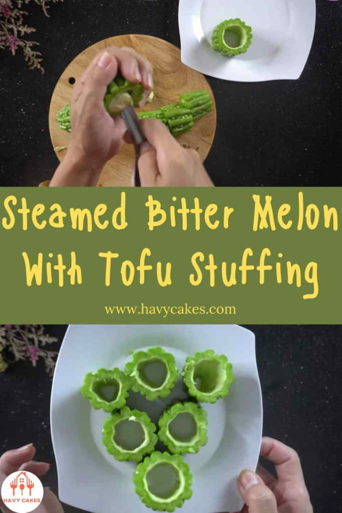 Steamed bitter melon with tofu stuffing howto: Step1