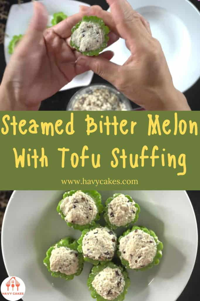 Steamed bitter melon with tofu stuffing howto: Step3