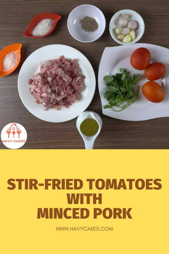 Stir-fried tomatoes with minced pork balls howto: Ingredients