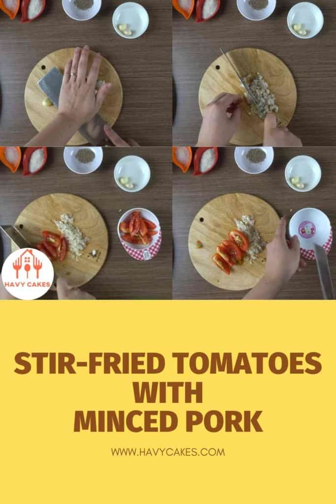 Stir-fried tomatoes with minced pork balls howto: Step1