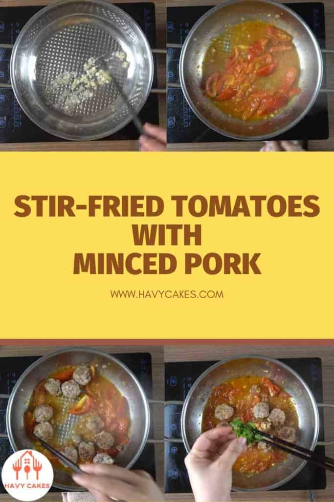 Stir-fried tomatoes with minced pork balls howto: Step4