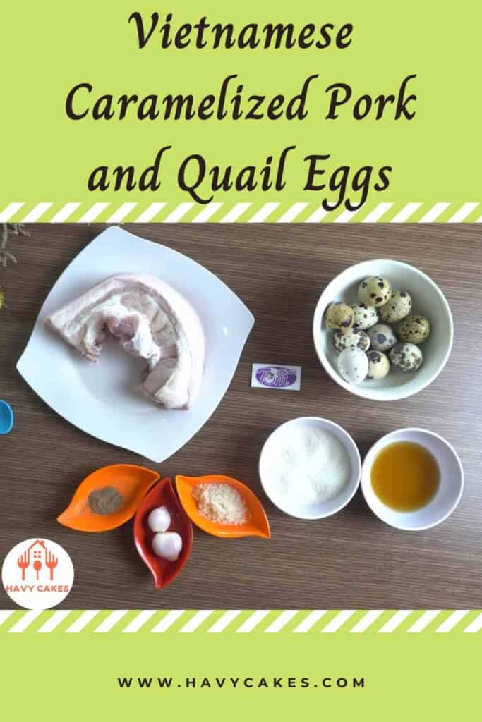 Vietnamese caramelized pork and quail eggs howto: Ingredients