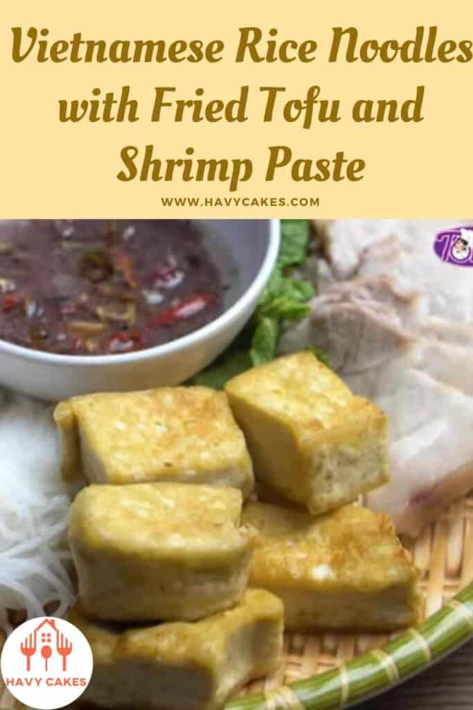 Vietnamese rice noodles with fried tofu and shrimp paste howto: End