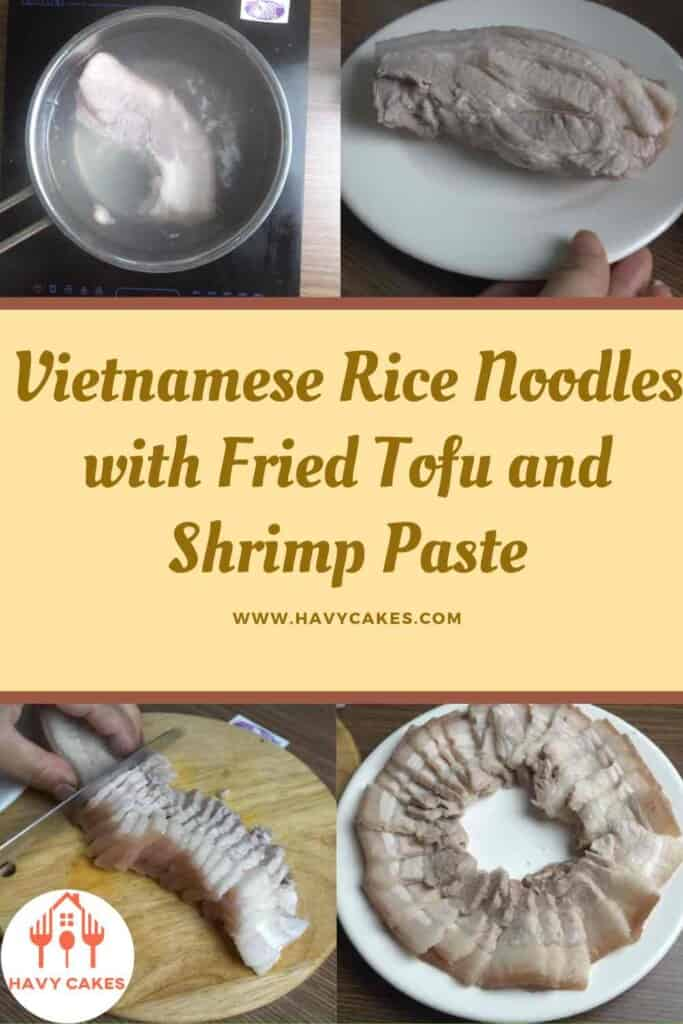Vietnamese rice noodles with fried tofu and shrimp paste howto: step2