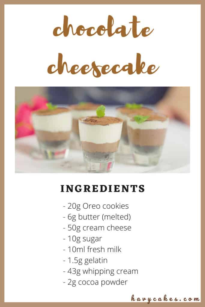 ingredients of chocolate cheesecake