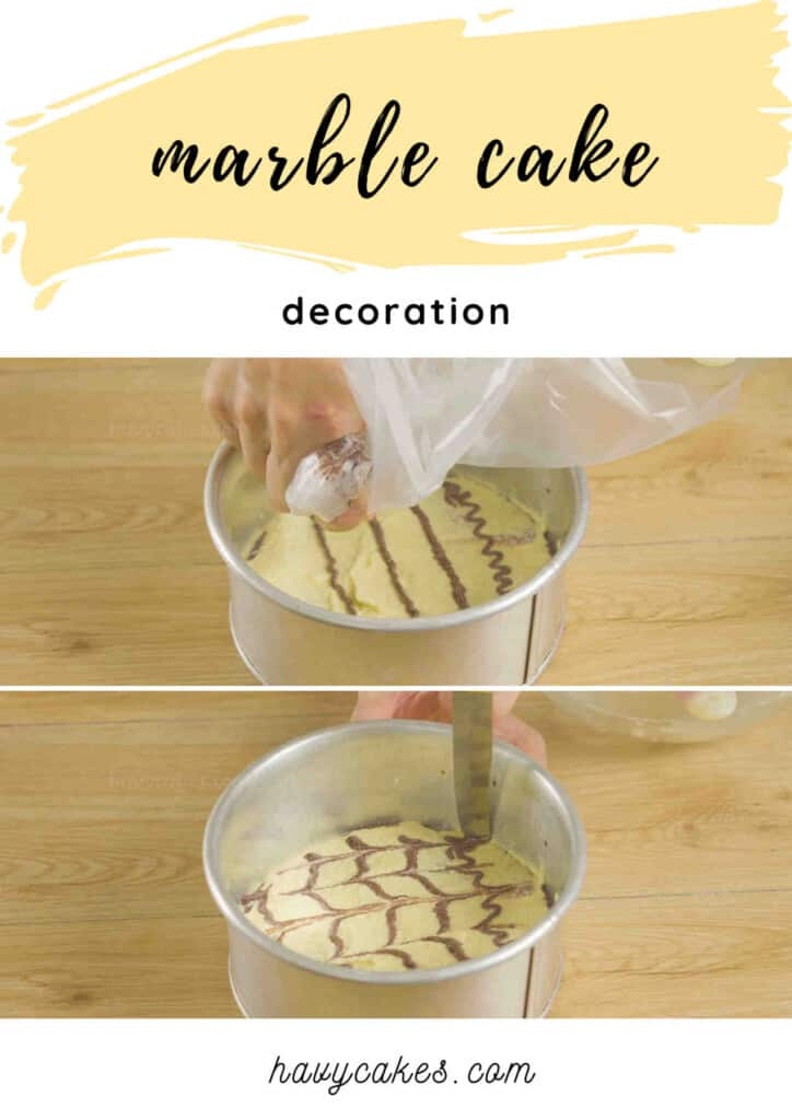 decorate the marble cake before baking