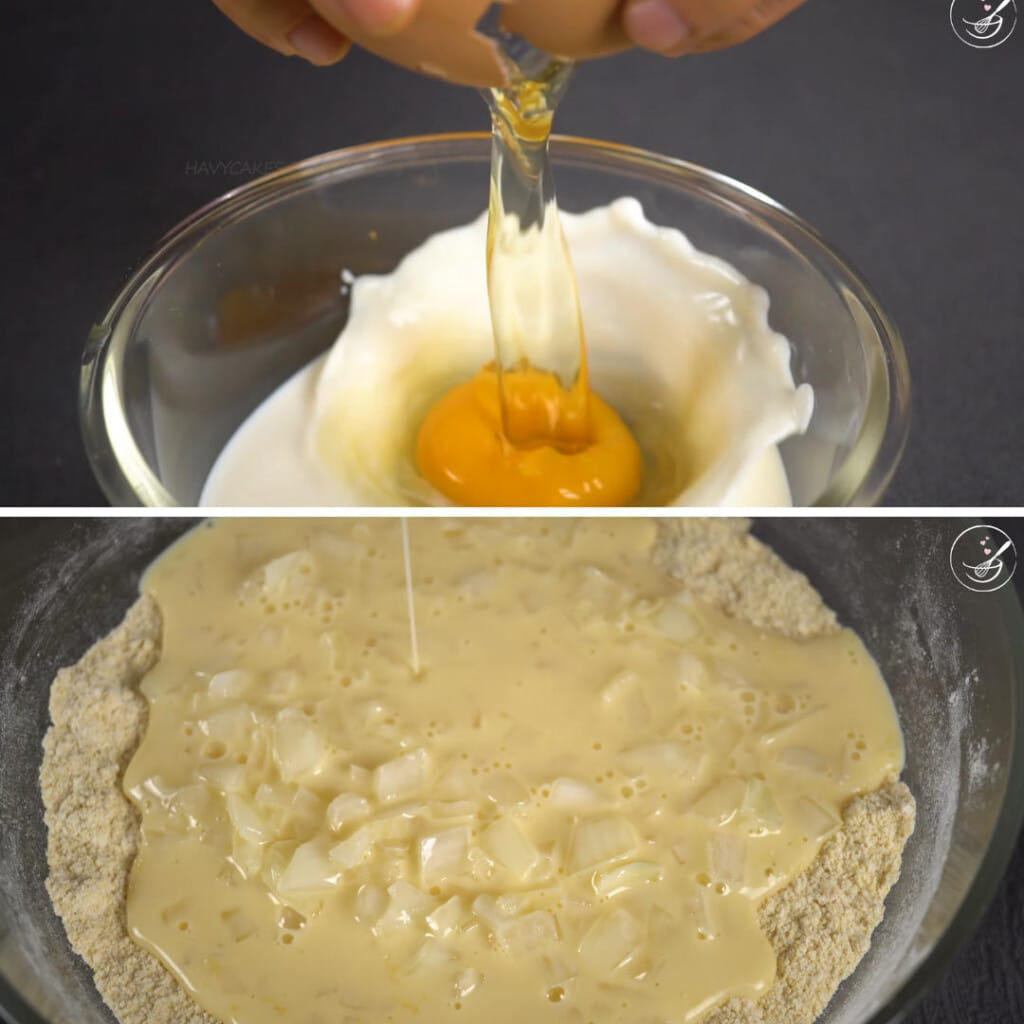 step 2 - add the liquid to form a batter