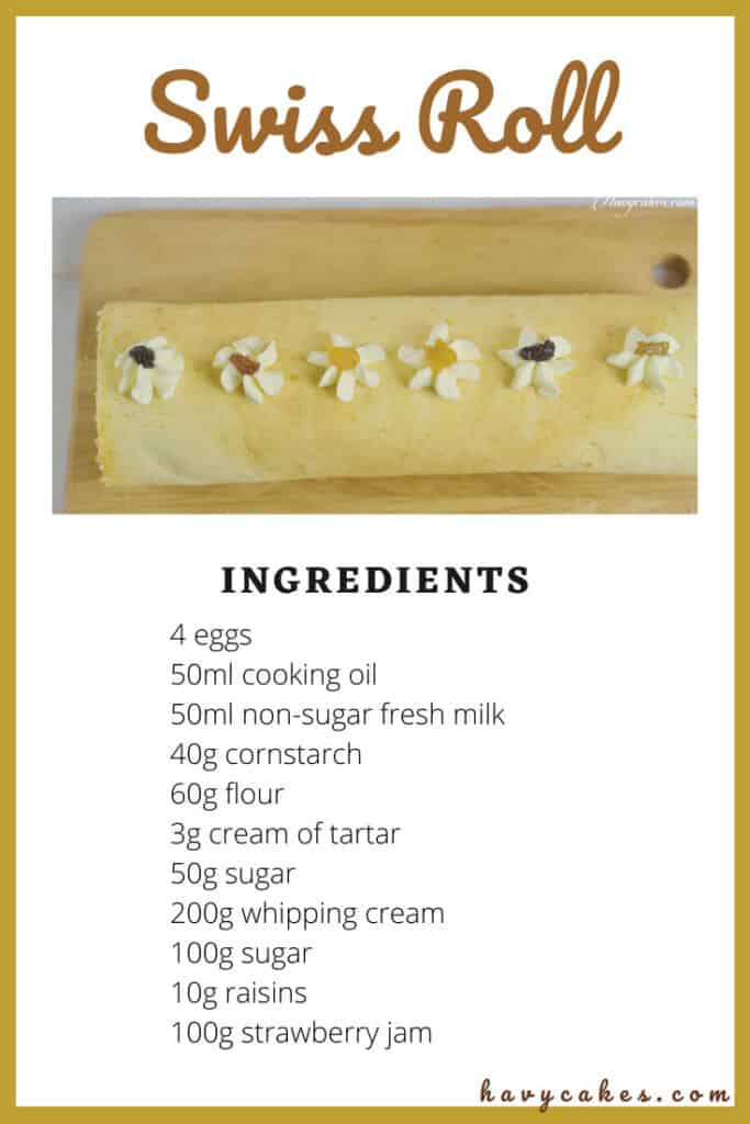ingredients for swiss roll
