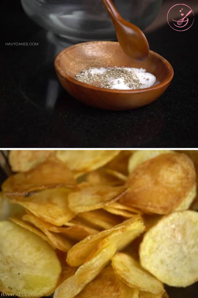 Add salt and pepper to the chips