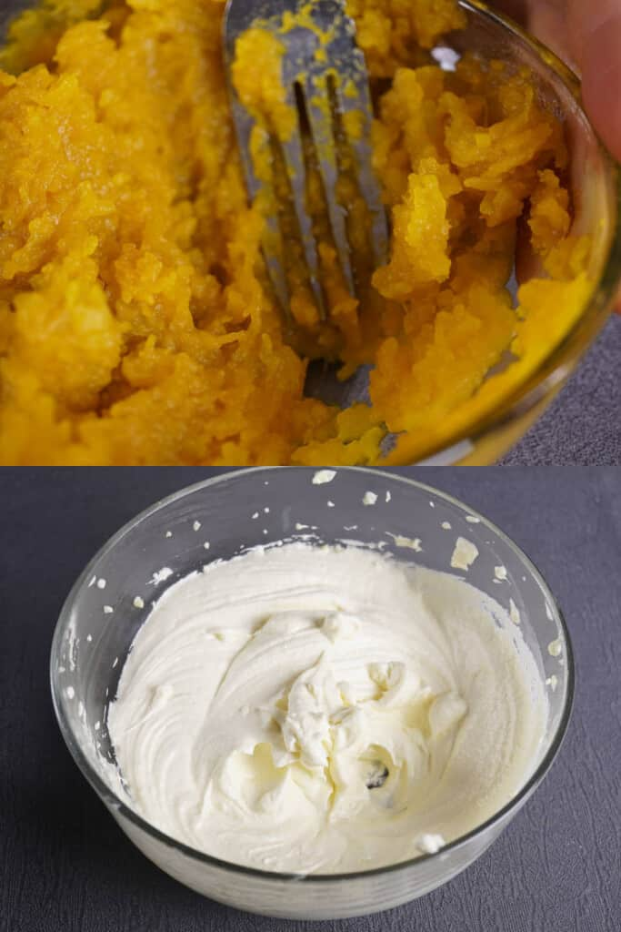 make pumpkin puree for the dough and mix the frosting