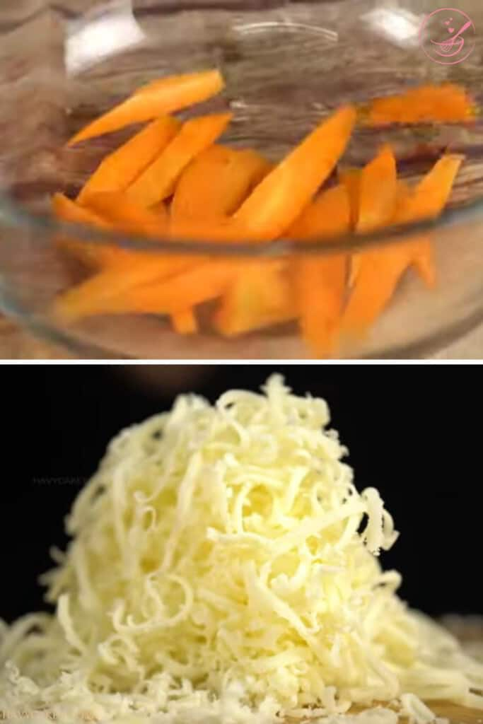 Cutting carrot to strips