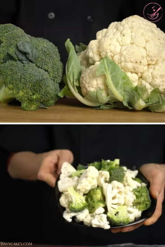 Cutting cauliflower and broccoli
